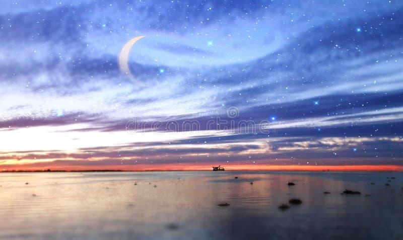 starry sky moon stars sunset summer starry sky night seascape city panorama night light reflexion on water harbor moon o stock image