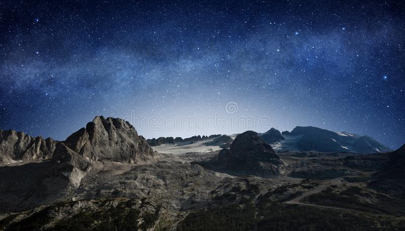 Starry sky in mountain wilderness area stock image