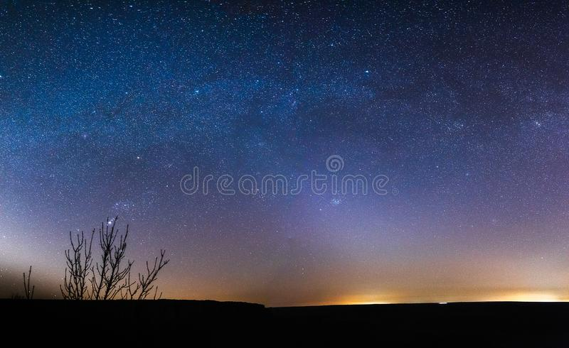 Starry sky at night in the steppes. Of the Rostov region, Russia with tracks from airplanes stock images