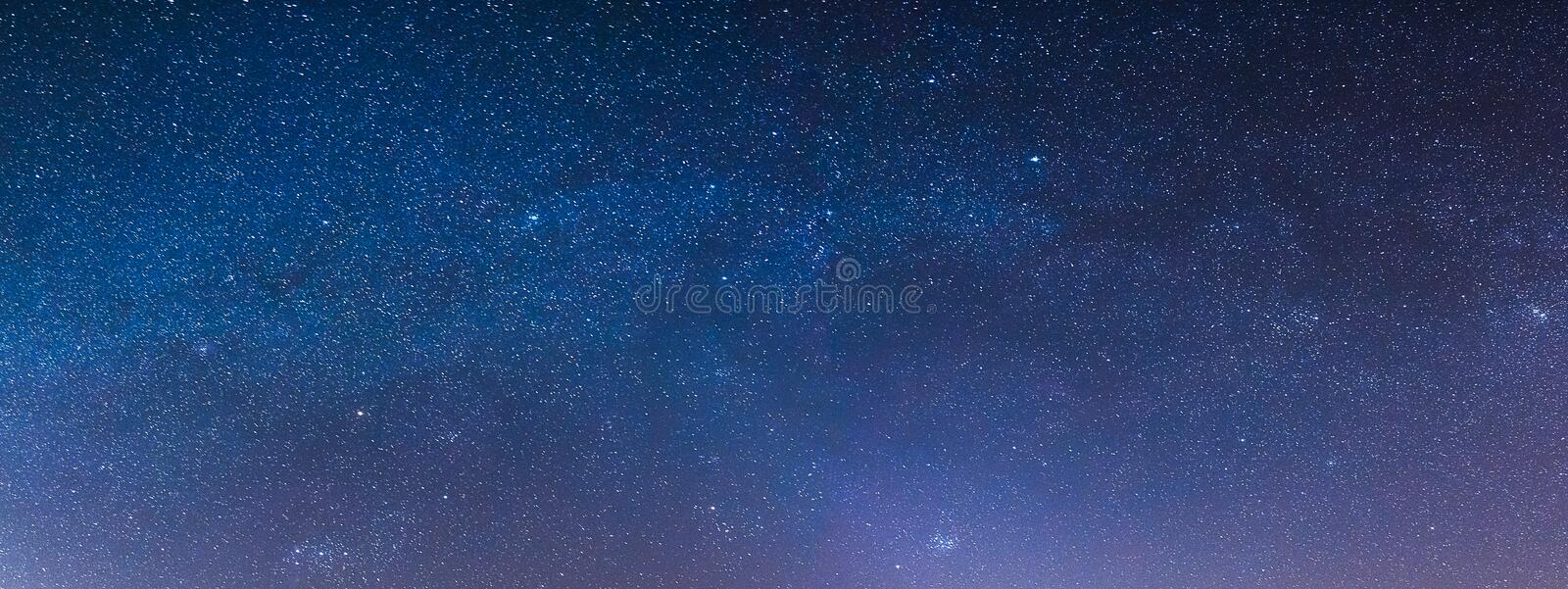 Starry sky at night in the steppes. Of the Rostov region, Russia with tracks from airplanes royalty free stock photo