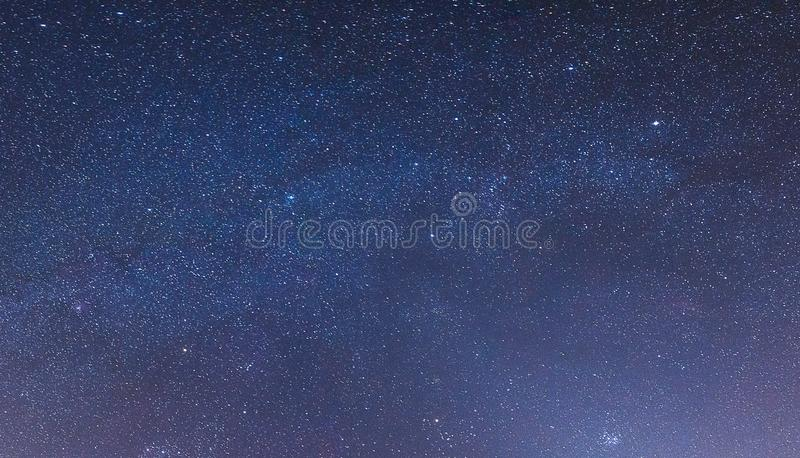 Starry sky at night in the steppes. Of the Rostov region, Russia with tracks from airplanes stock photography