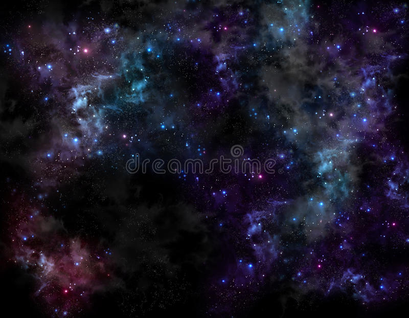Starry sky in the open space. Beautiful background of the night sky with stars stock illustration