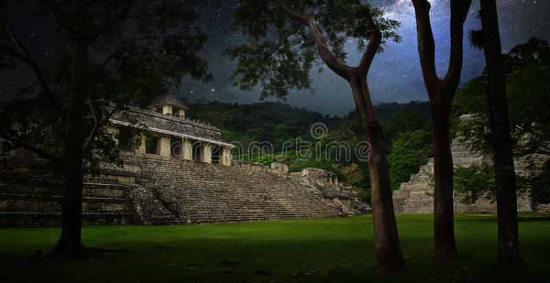 Starry sky over the ruins and pyramids in the ancient city of Pa stock image