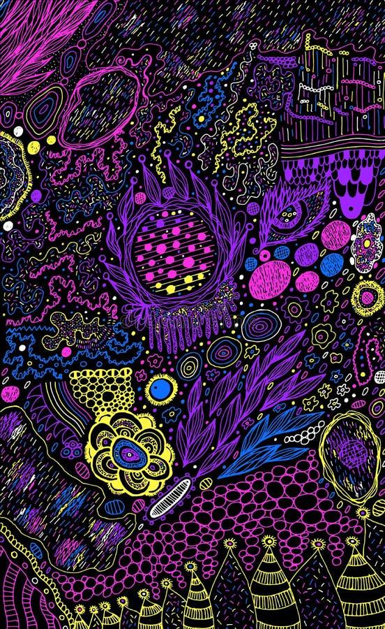 starry sky Psykedeliskt skissa färgrik bakgrund Rektangel-, fyrkant- och cirkelformer Memphis stil Vektorillustrationkonst royaltyfri illustrationer