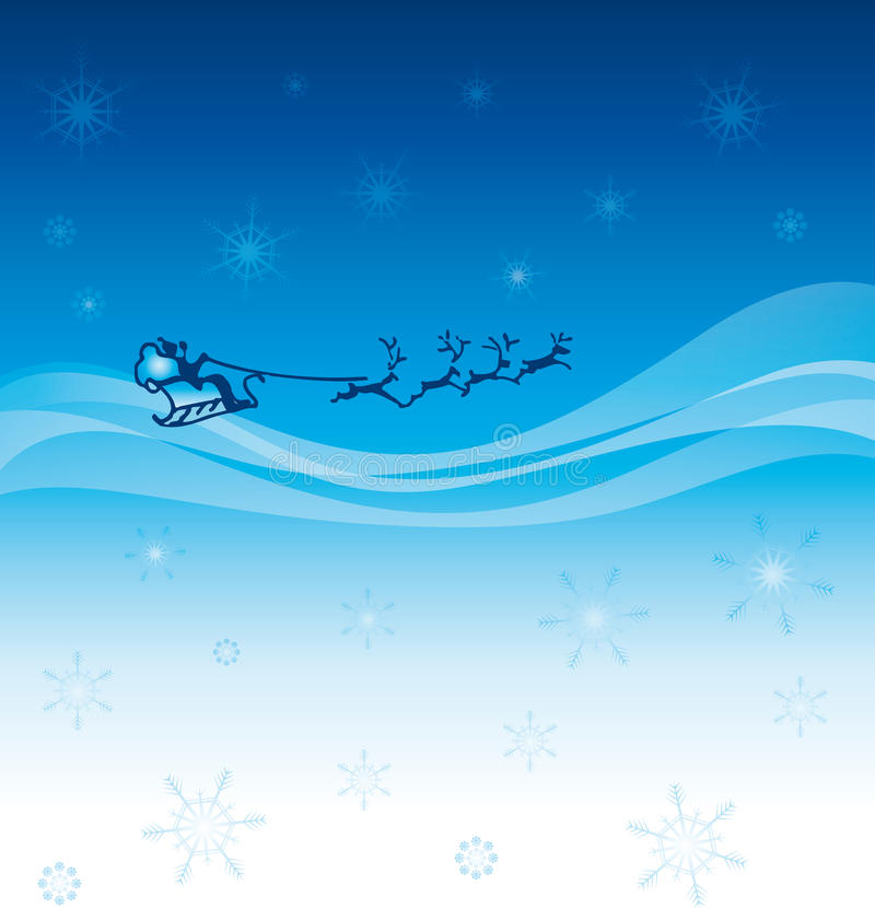 Download Starry Sky With Santa On His Sleigh Stock Vector - Image: 12176998