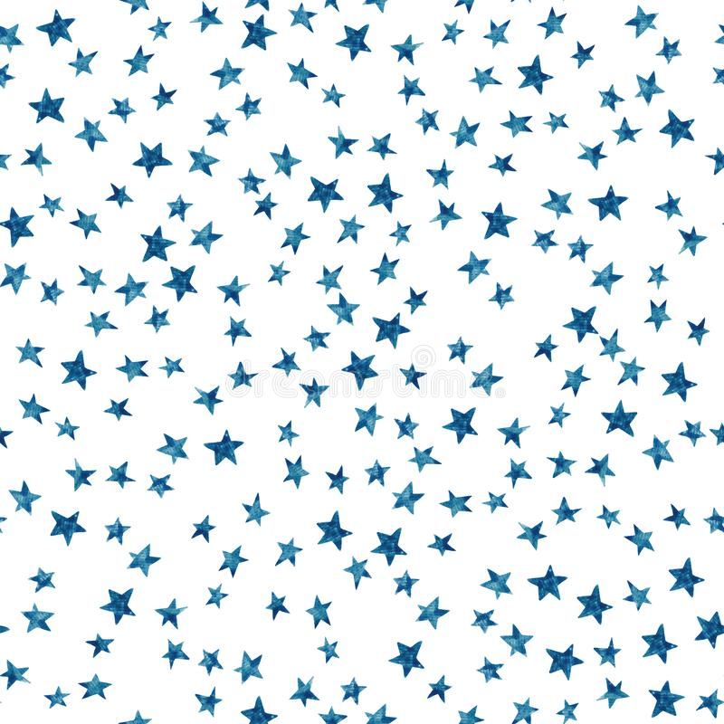 Starry sky seamless pattern with blue monochrome stars on white background. Watercolor doodle illustration vector illustration