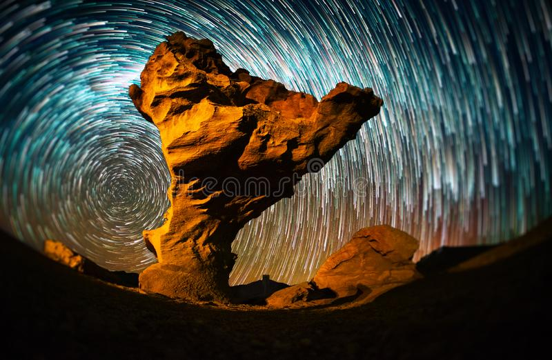 Starry sky with the star trails royalty free stock images