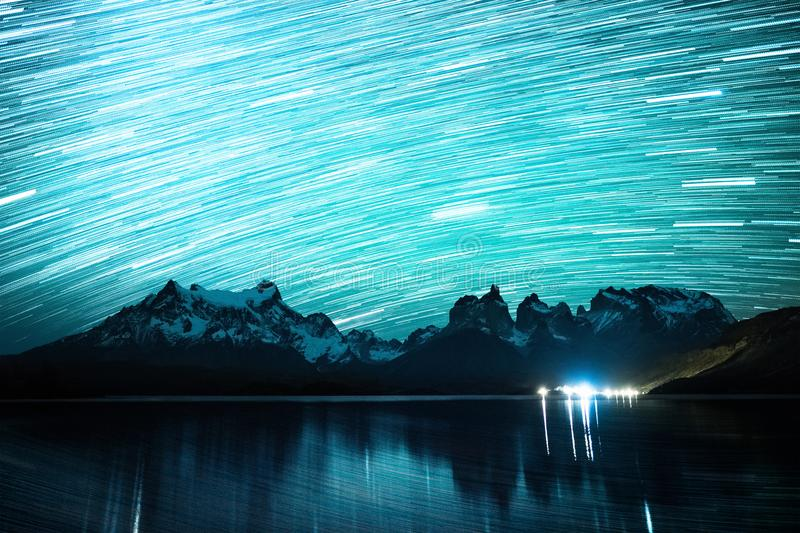 Starry sky with star trails royalty free stock image