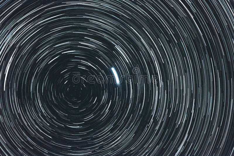 Starry sky with trails stock images