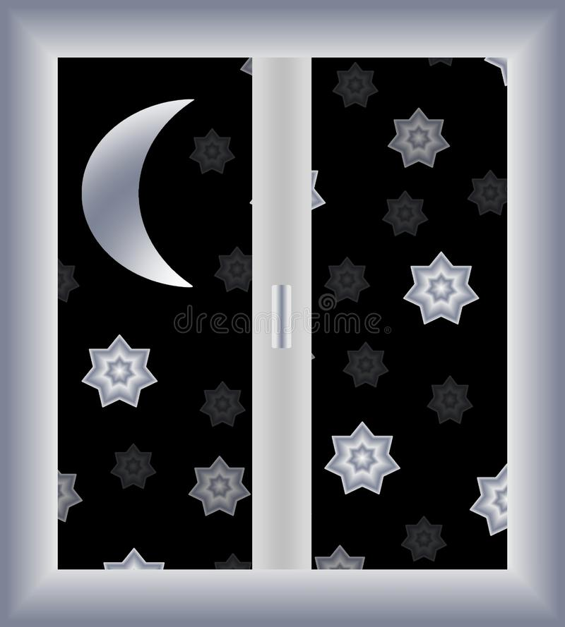 Starry sky. View of starry cloudless night sky with the shining crescent from the window royalty free illustration