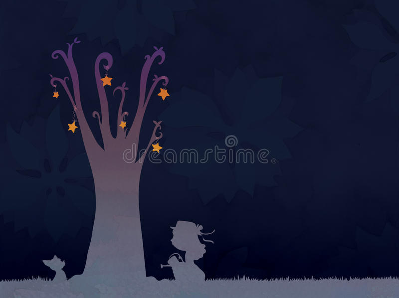 Download Starry tree stock illustration. Image of silouhette, tree - 27326594