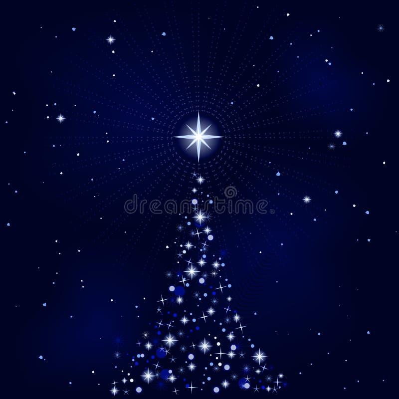 starry tree för julnattpeacefull royaltyfri illustrationer