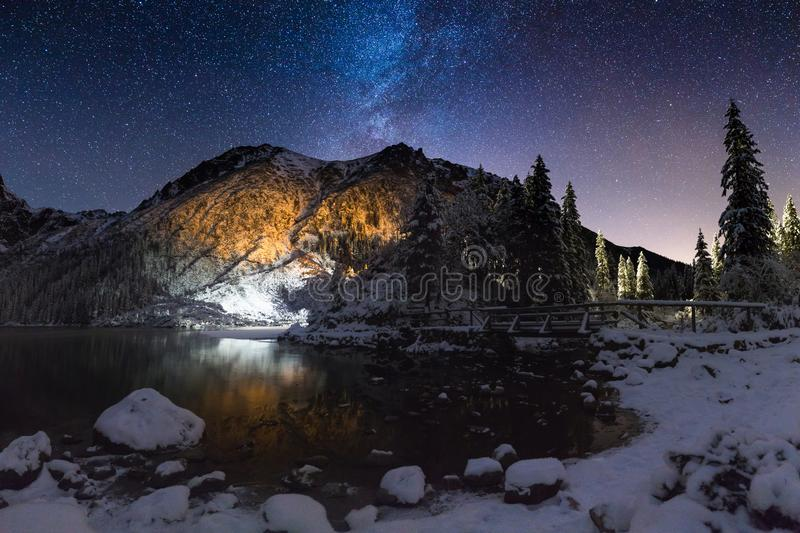Starry winter night royalty free stock photography