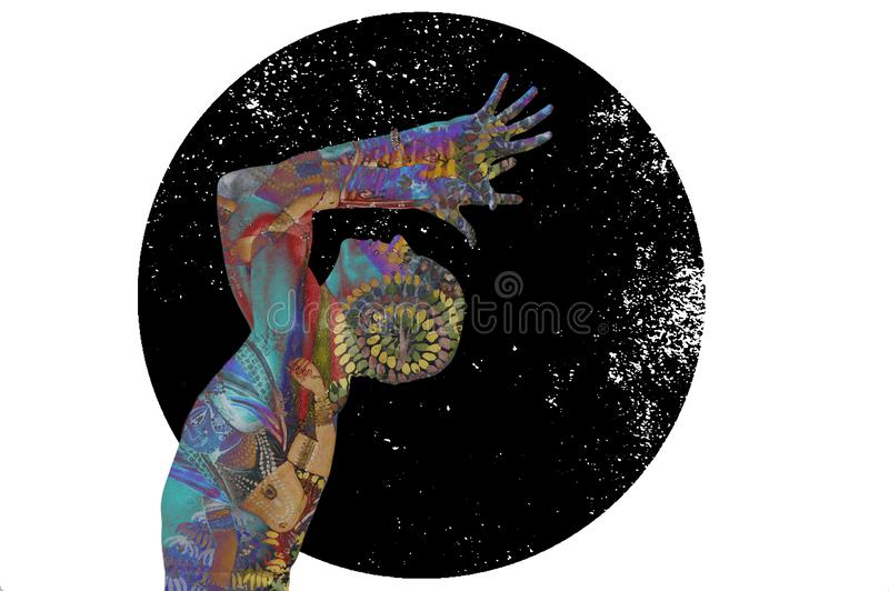 Starry Yoga Man In Cosmic Conscient illustration de vecteur