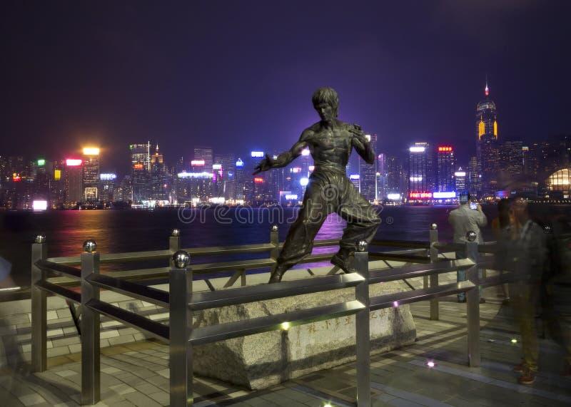 Stars†香港大道在维多利亚港口江边的  库存图片