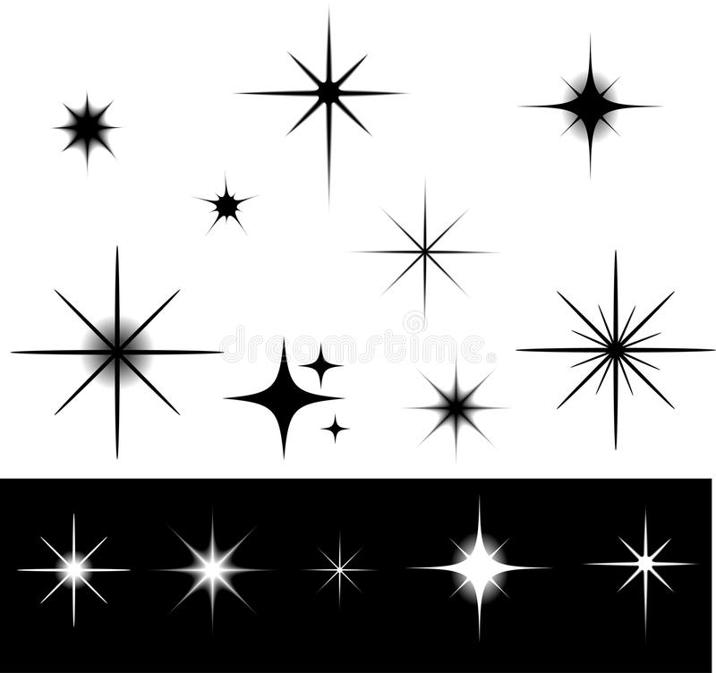 Stars. Black and white stars collection vector illustration