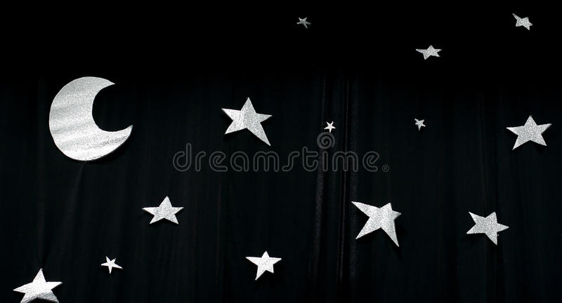 Stars. Background with stars shapes on the black curtain stock photos