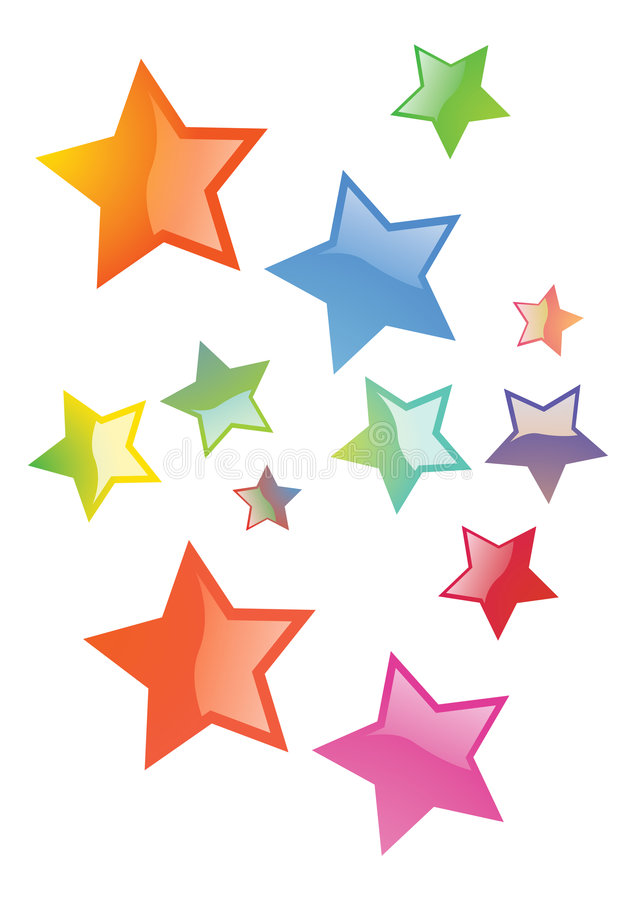 Stars. 3d stars in different colors and styles vector illustration