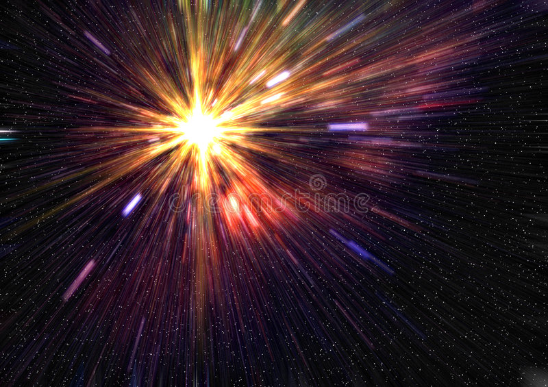 Stars. A starfield with a nova explosion in 3d