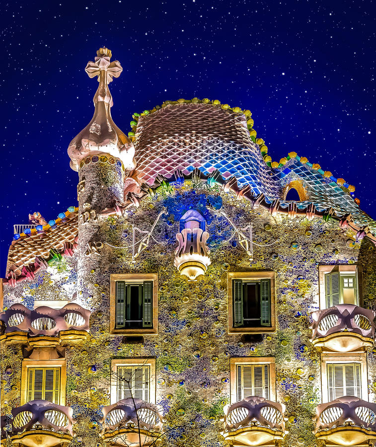 Stars above Casa Batllo. Photograph of a night sky above Casa Batllo in Barcelona, Spain royalty free stock photo