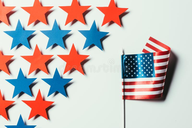Stars and american flag isolated on white, presidents day concept stock image