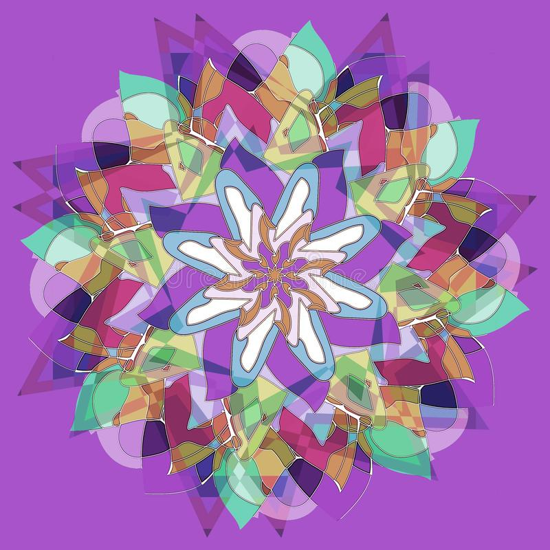 STARS ART DECO FLOWER MANDALA. PLAIN VIOLET BACKGROUND. CENTRAL LINEAR FLOWER IN PURPLE, AQUAMARINE, GREEN, WHITE, BLUE, PINK. FLOWER MANDALA. ART DECO STYLE vector illustration