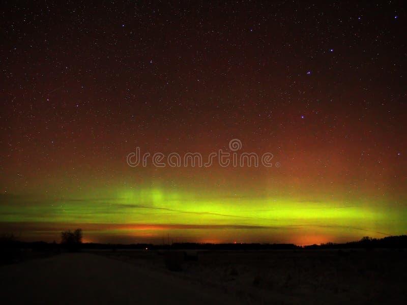 Aurora borealis polar lights and night sky stars over forest. Orange red aurora polar lights and stars in the night sky stock photo