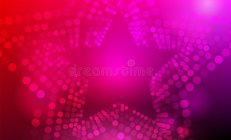 Stars background. 3D abstract purple, pink and red star background with circles, lens flares and glowing reflections vector illustration