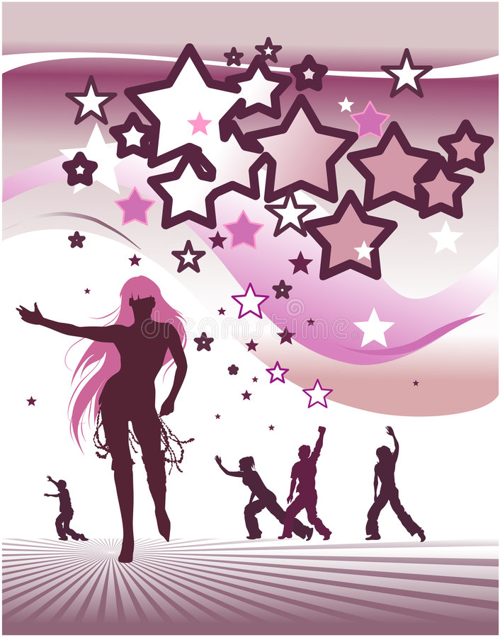 Stars background with dancing people royalty free illustration