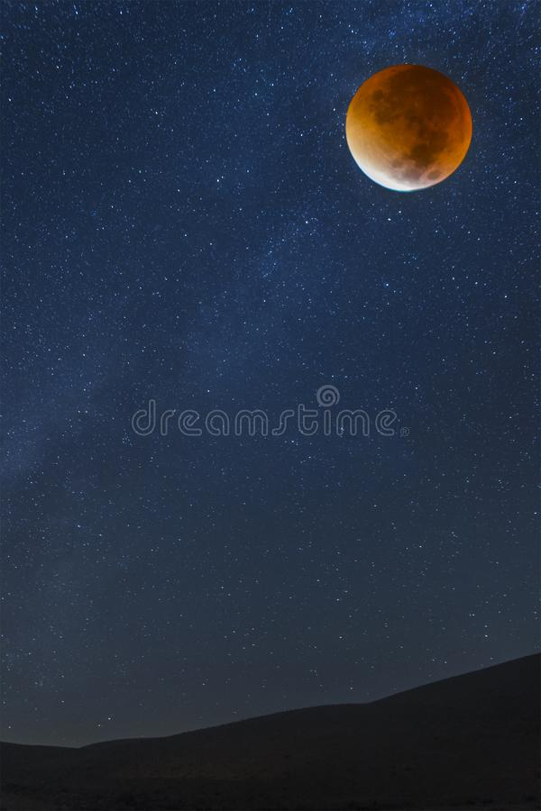 Stars and bloody moon royalty free stock photo