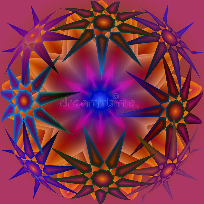 STARS BLUE AND LIGHT ORANGE ROUND MANDALA, 3 D IMAGE royalty free illustration
