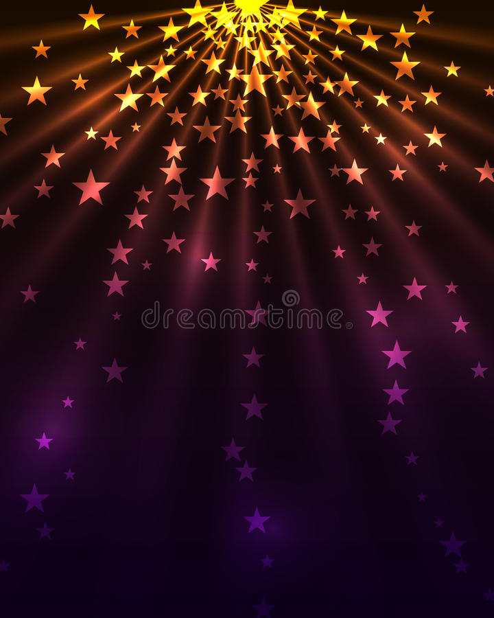Stars burst. Dark vertical background vector illustration