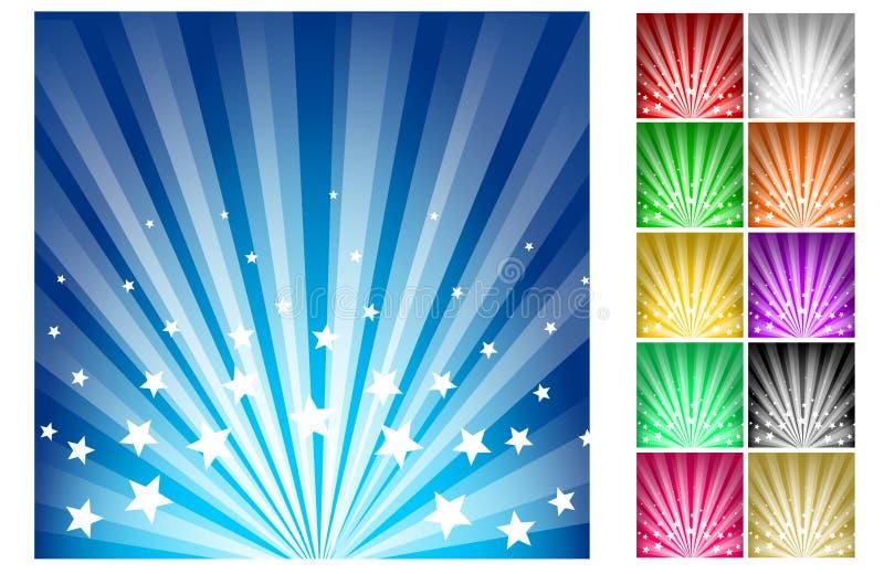 Stars burst. Illustration of stars burst backgrounds in different colors