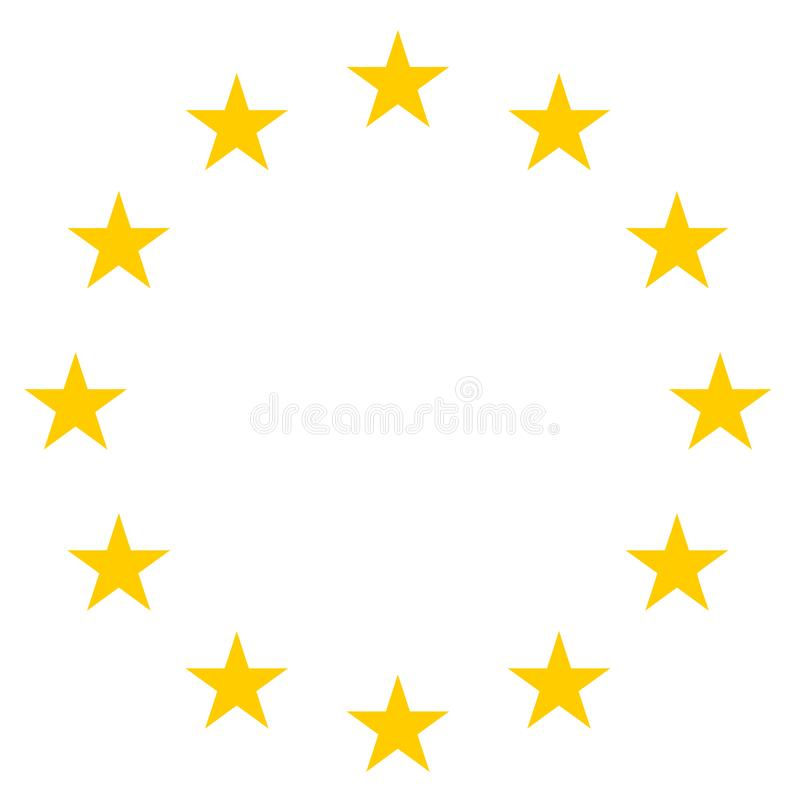 Stars In Circle Icon - Yellow Vector Illustration - Isolated On White. Background royalty free illustration