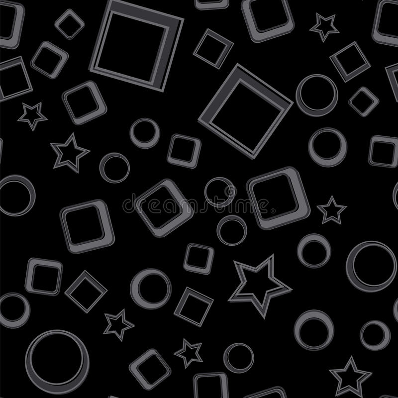 Stars, circles and squares seamless pattern. Dark vector illustration. Geometric forms abstract background. stock illustration