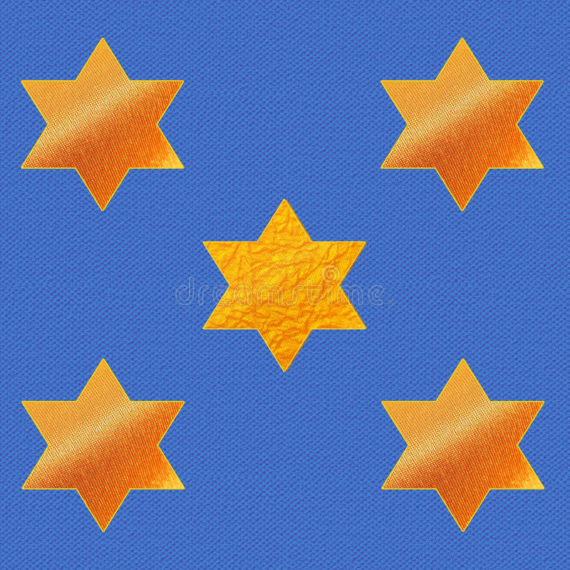 Stars of David on blue fabric background. Pattern. Gold Stars with of the textile and the metallic texture stock illustration