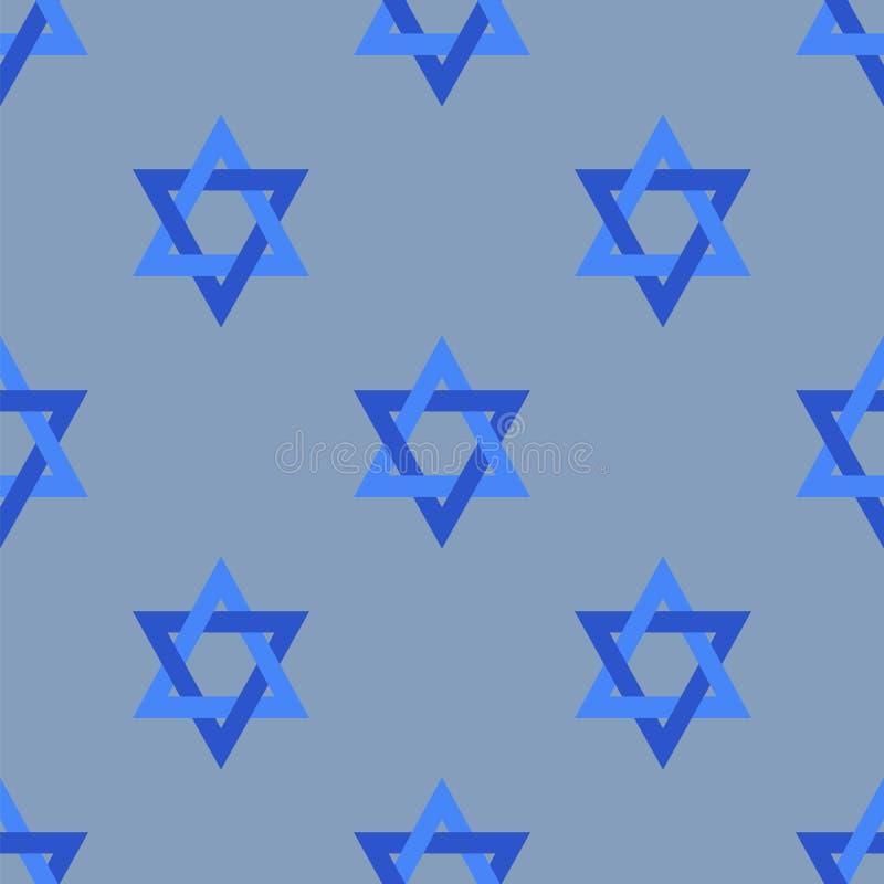Stars of David Isolated Seamless Pattern. Stars of David Isolated on Blue Background. Seamless Pattern royalty free illustration