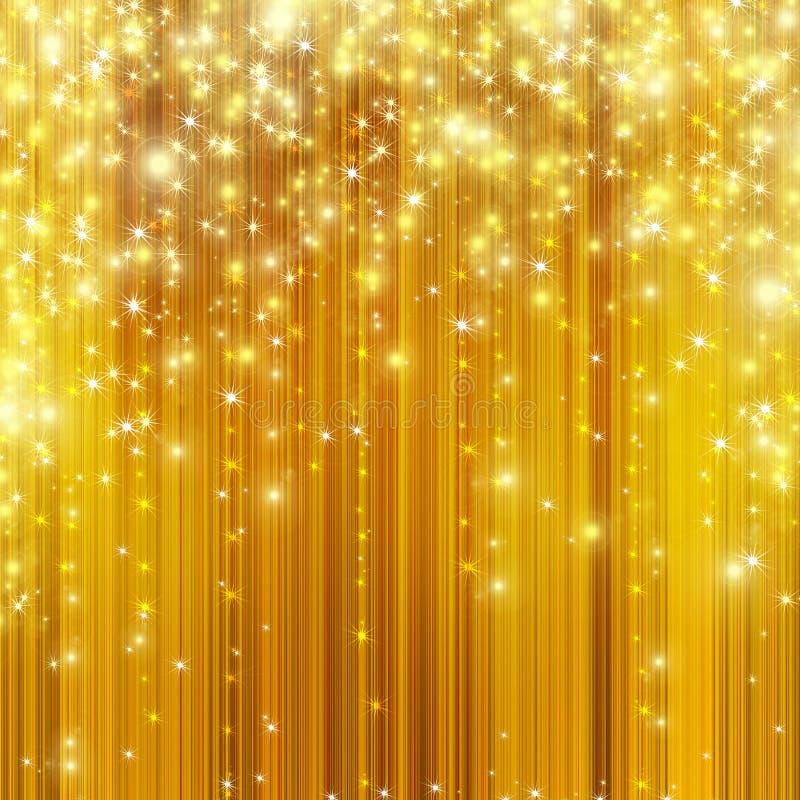 Stars descending on golden background. Gold celebration background wit star and banner