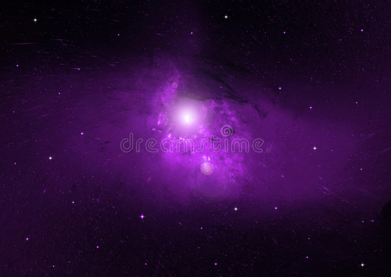 Stars, dust and gas nebula in a far galaxy stock illustration