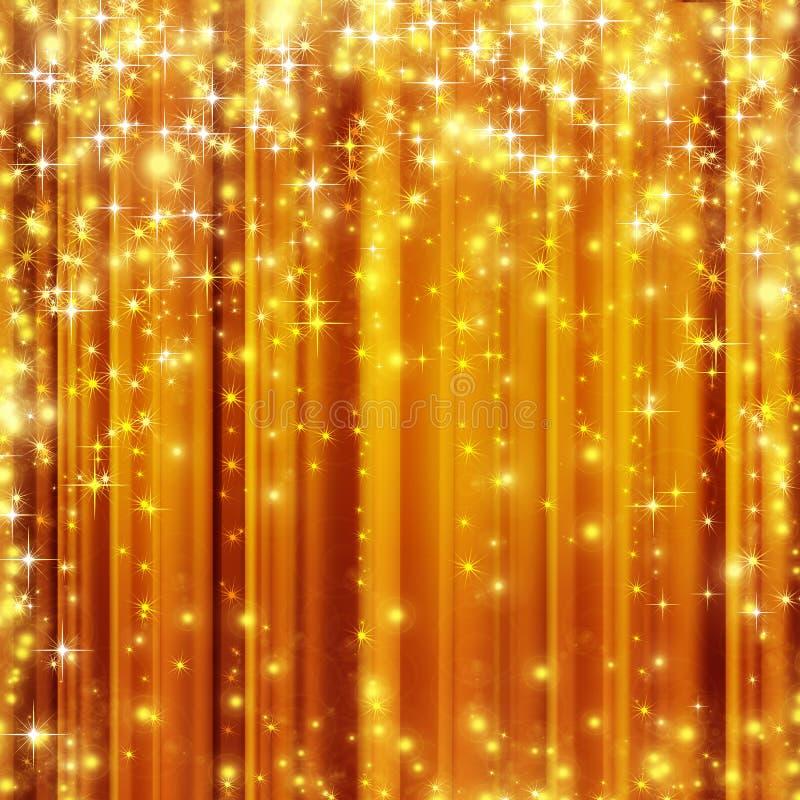 Stars el fondo de oro stock de ilustración