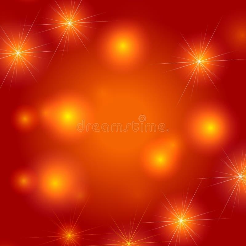 Stars el fondo en naranja ilustración del vector
