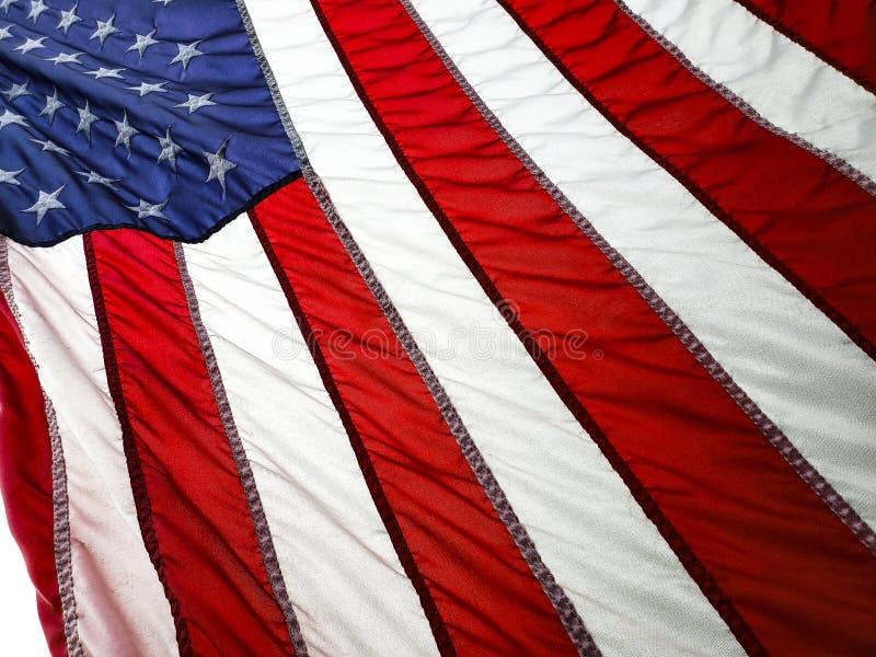 Stars en Stripes Sluiting van de Amerikaanse vlag in het ochtendlicht royalty-vrije stock afbeeldingen