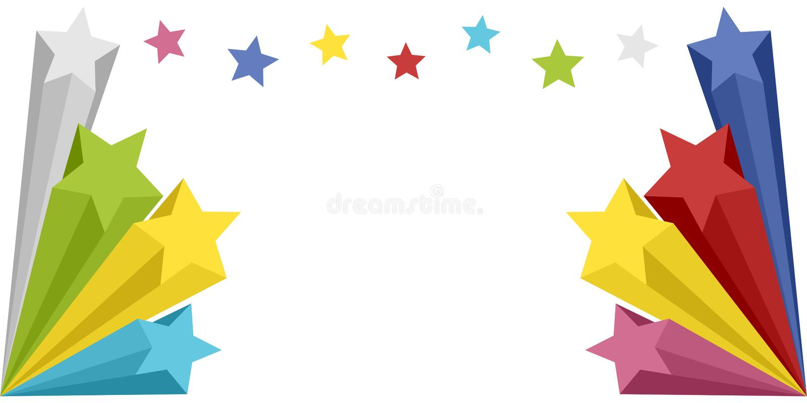 Stars Explosion Banner. Colorful stars explosion banner on white background. Empty space for a message. Eps file available
