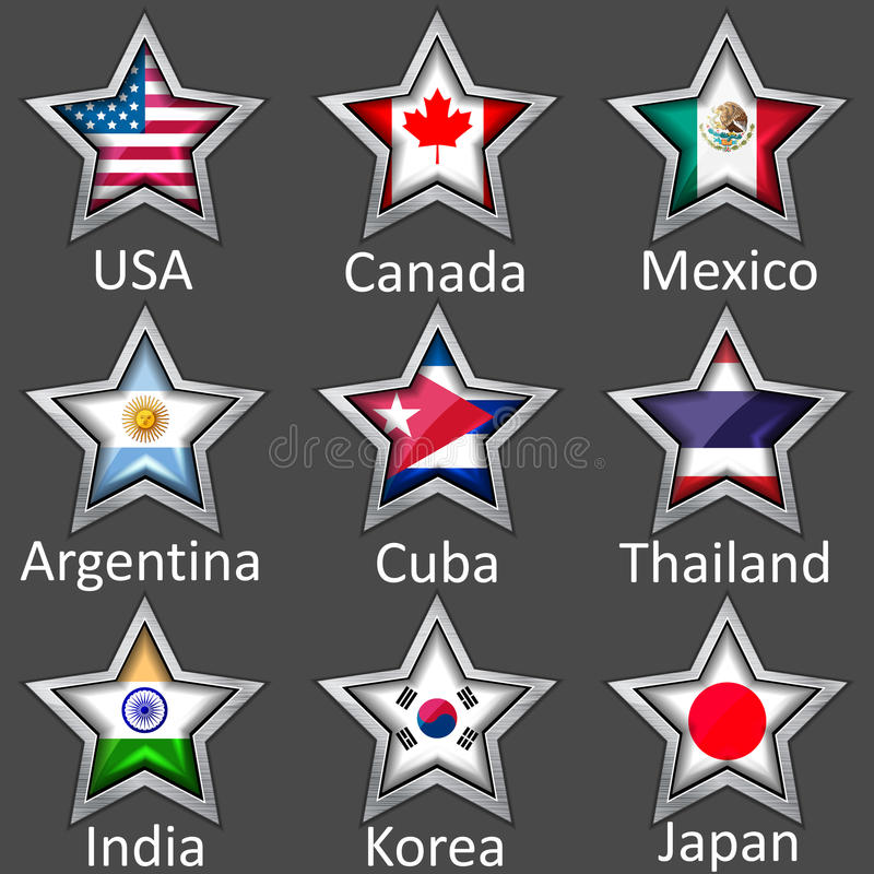 Download Stars with flags icon stock vector. Image of glass, shiny - 24935272