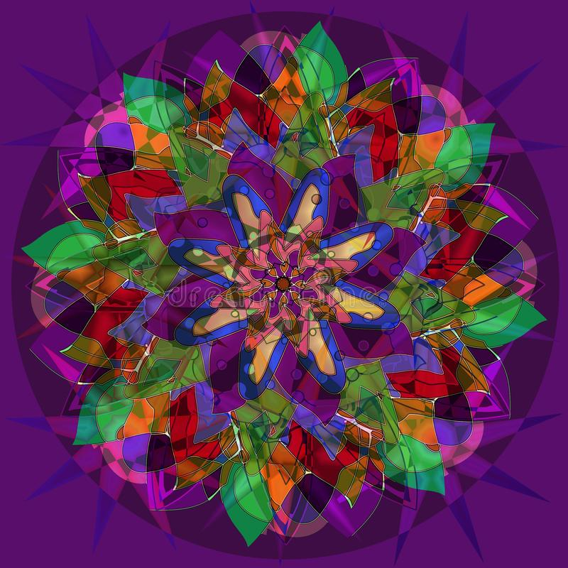 STARS FLOWER MANDALA. ART DECO STYLE. PLAIN VIOLET BACKGROUND. COLORFUL IMAGE IN GREEN, FUCHSIA, PURPLE, BLUE, YELLOW, ORANGE, RED. FLOWER MANDALA. ART DECO royalty free illustration