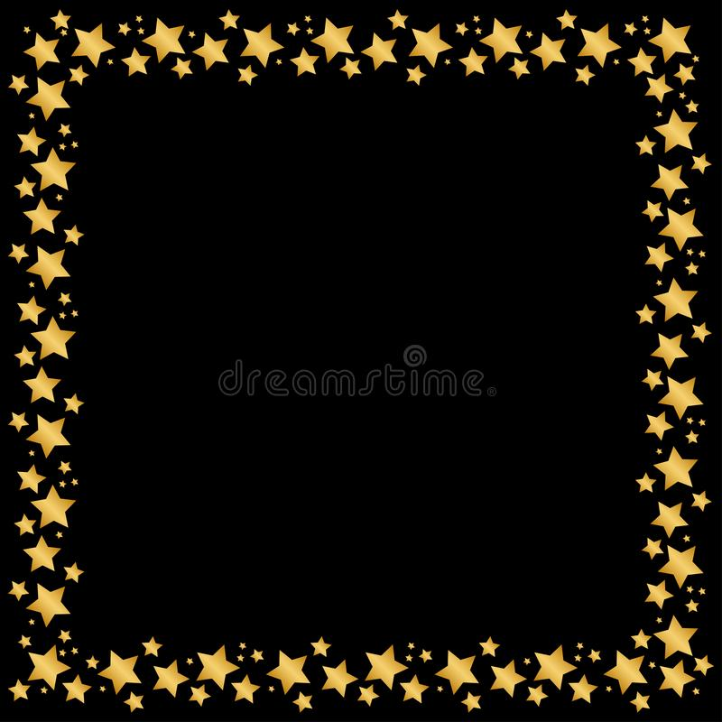 Stars frame or border for christmas, holidays gold falling square vector background. magic stars on night sky backdrop. Square vector illustration