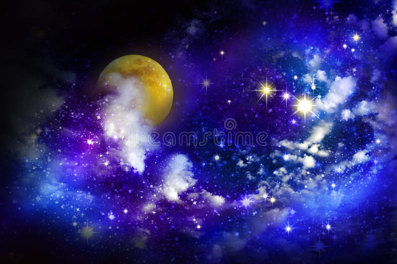 Stars and full moon in the night sky. Christmas star. Stars and full moon in the night sky stock illustration