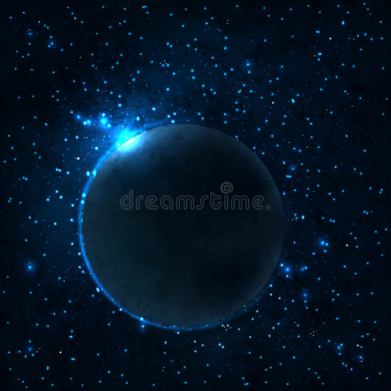 Stars and galaxies. Congestion of stars and galaxies on darkly blue background stock illustration