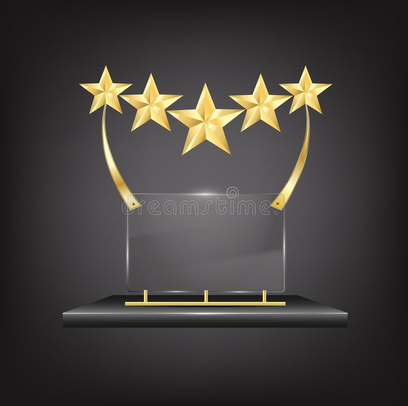 5 Stars Gold Trophy Award with Name Plate award certificate frame. 5 Stars Gold Trophy Award with Name Plaques on black metallic stand isolated on black royalty free illustration