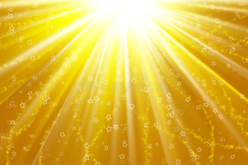 Stars on a golden light stock photo